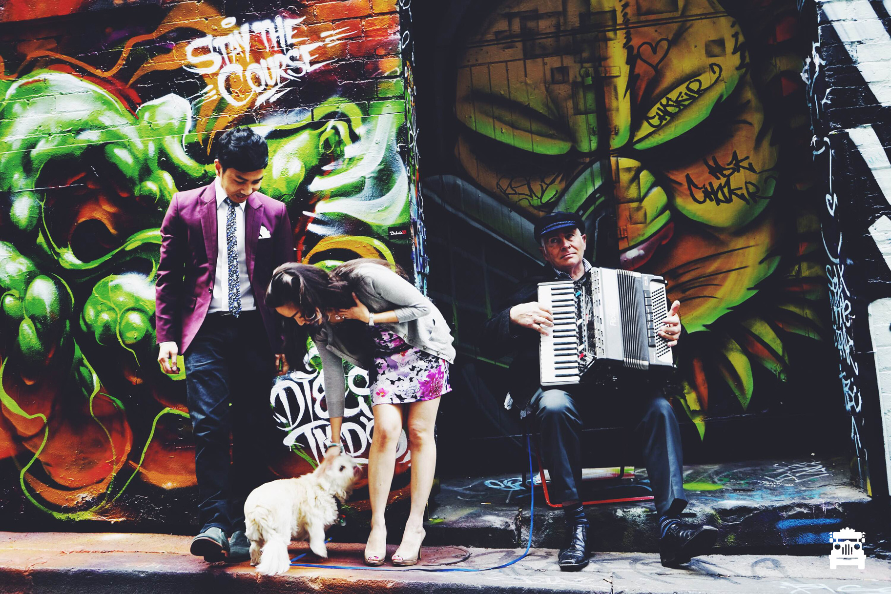 Wifey and I with the accordion player's dog for a shoot :) #throwback - Photo by Roy Ponce