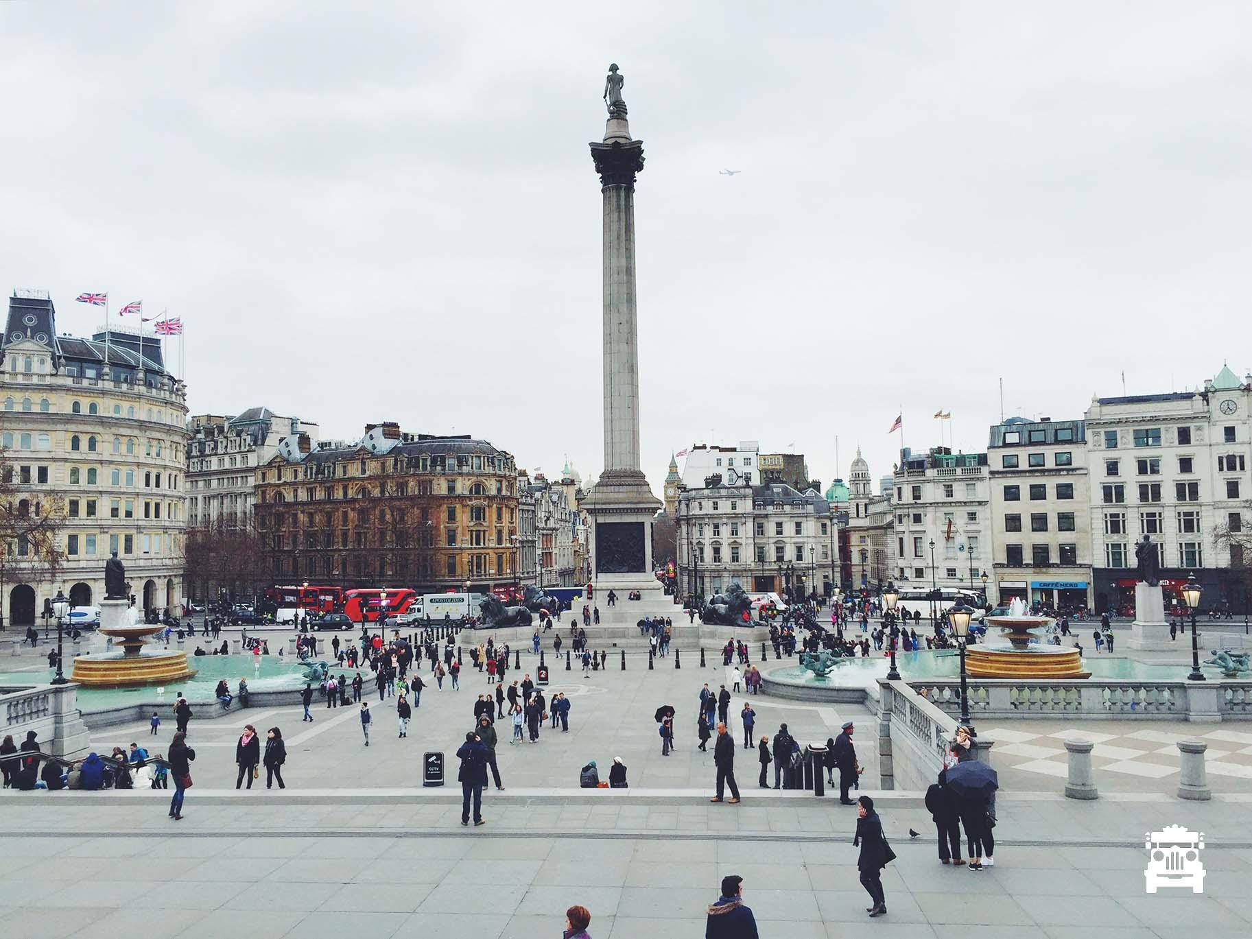 This is what Trafalgar Square looks like dry