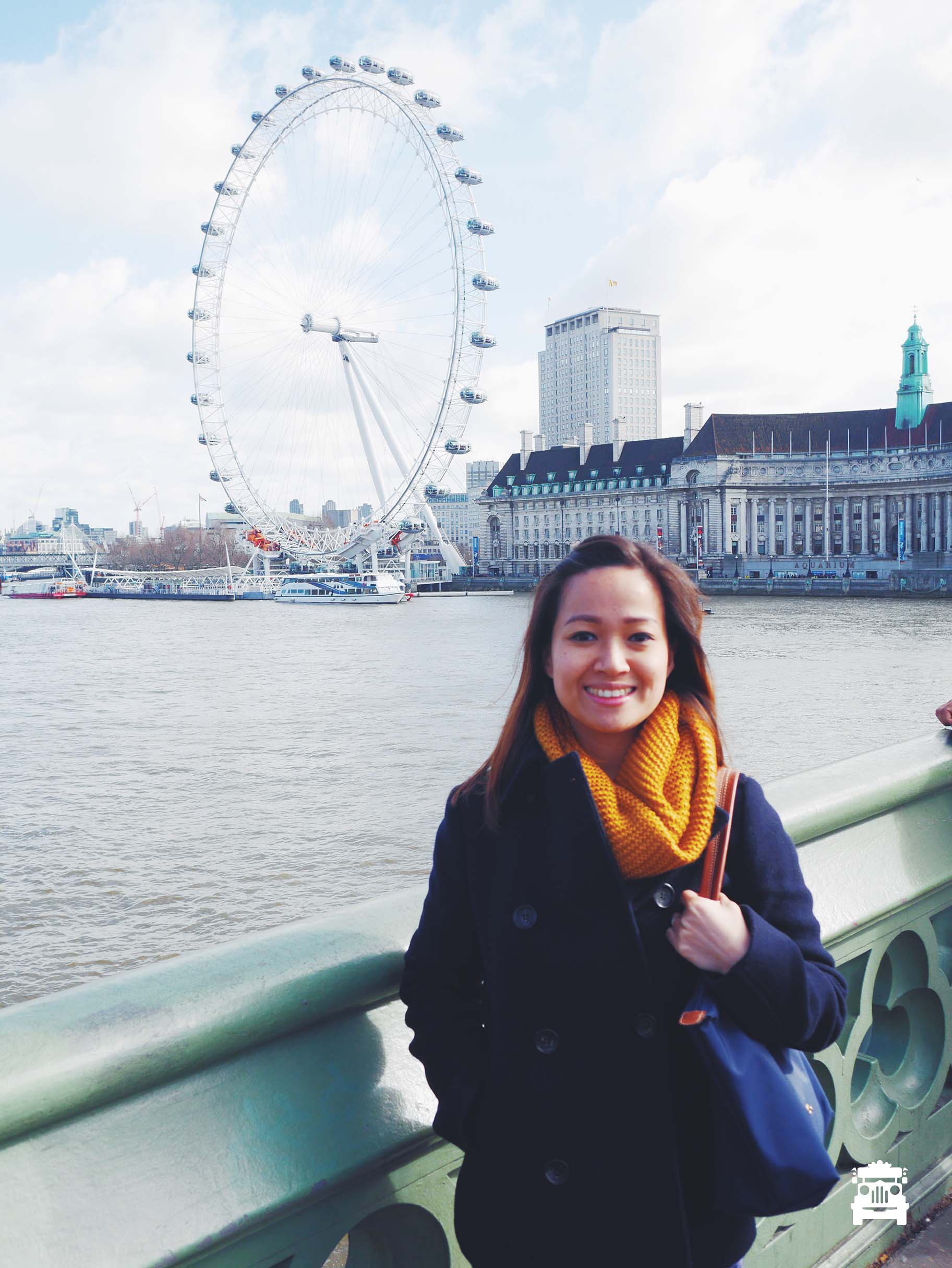 On Westminster Bridge with the London Eye and River Thames behind Wifey