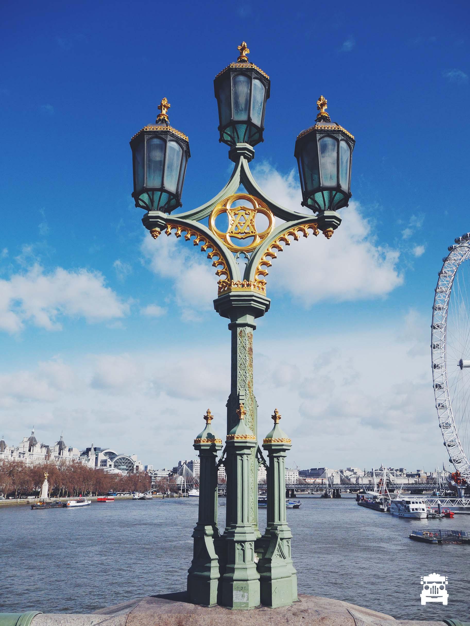 Beautiful street lamp on the bridge