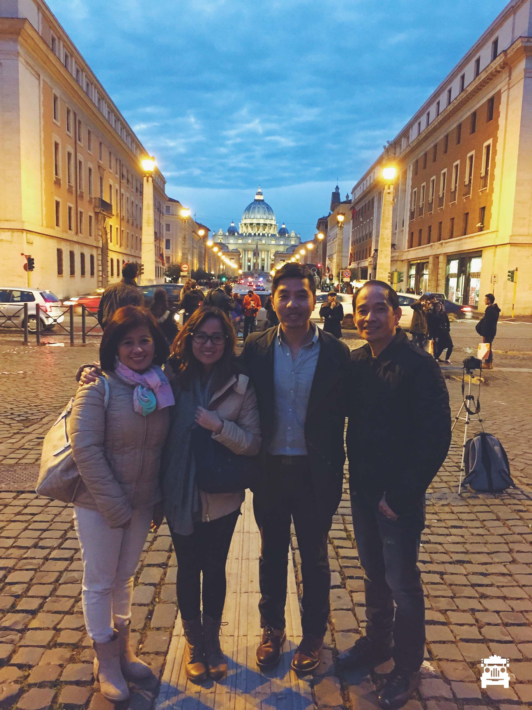 With my uncle and aunt with St Peter's Basilica behind us :)