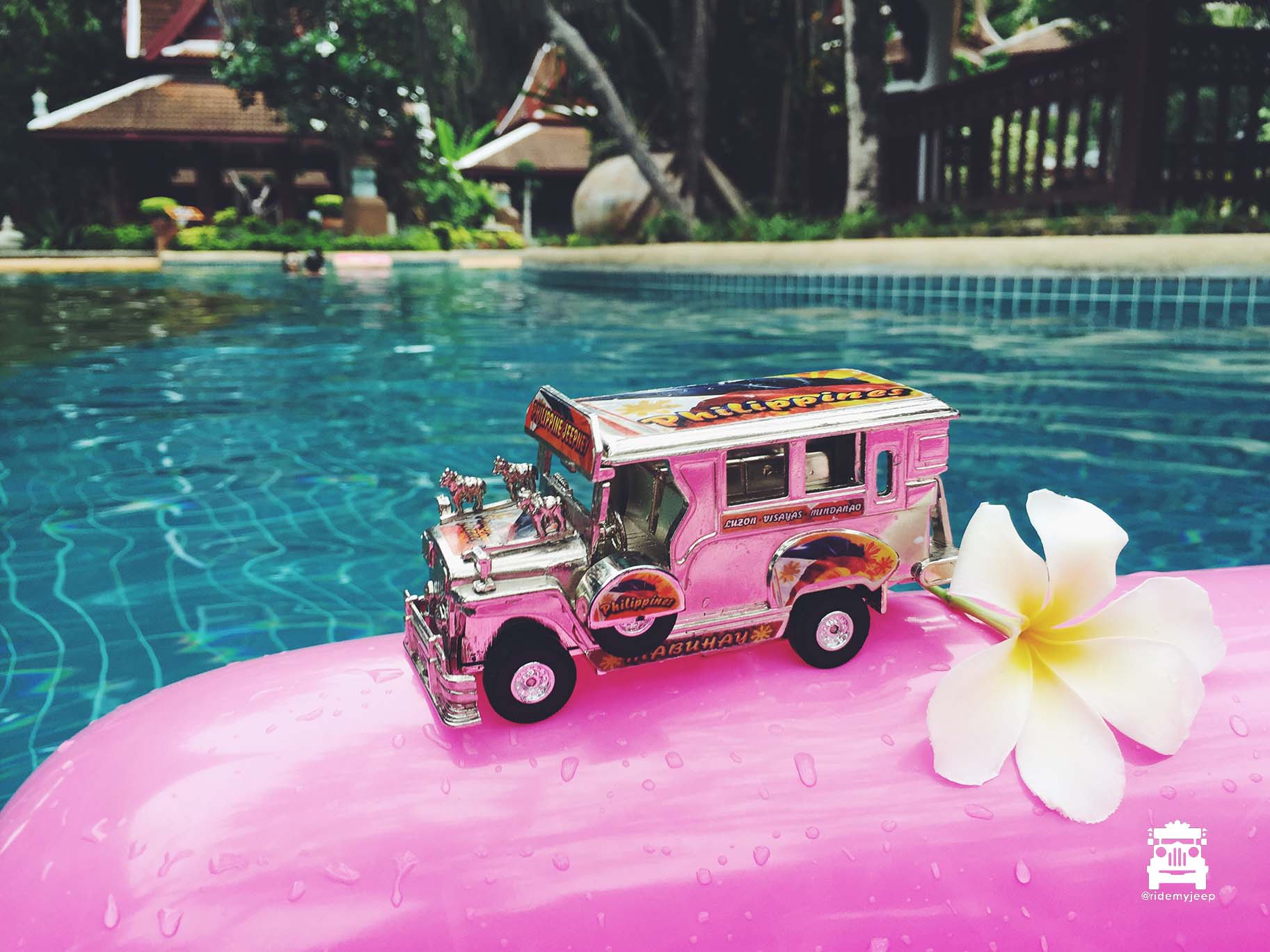 Jeep by the pool side