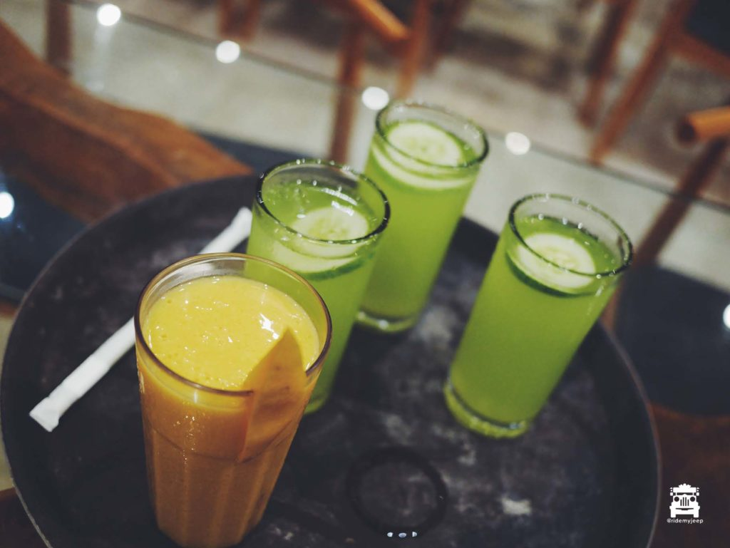 Mango shake and cucumber juice